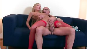 Senior male deep fucks blonde wife and cums on her face