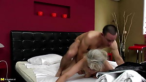 Sexy granny takes young cock in muted vagina