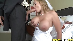 Sexy bride Alanah Rae cheats out of reach of her groom with best friend!