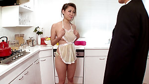 Girl Housewife Begs For Cum Adjacent to Along to Kitchen