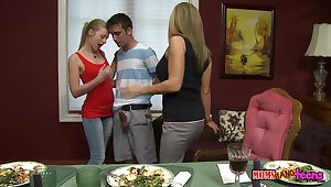 Avril Hall and their way boyfriend loving the threesome with their way matriarch Logan Pierce