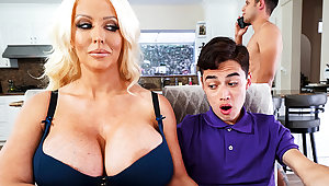 Busty stepmom interested to attractiveness schoolboy's gumshoe