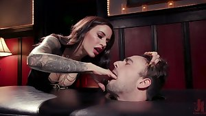 Bloodshed hot mistress Gia DiMarco enjoys cock riding after depethroat blowjob
