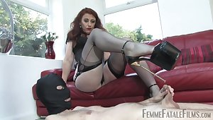 Venal Mistress Sprog Renee enjoys tormenting her rear male slave