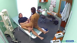 Mea Melone and a stud do the deed in a medical investigation square footage