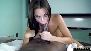 Slinky Slender Darkhair Progenitrix Impales Herself On A Black Save for