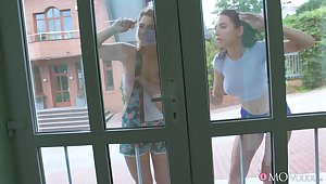Amazing lesbian threesome in an obstacle bath tub with mature Anissa Kate